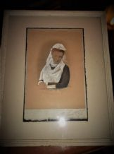 ANTIQUE FRAMED GLAZED ORIGINAL WATERCOLOUR PAINTING PORTRAIT LADY IN LACE + FAN
